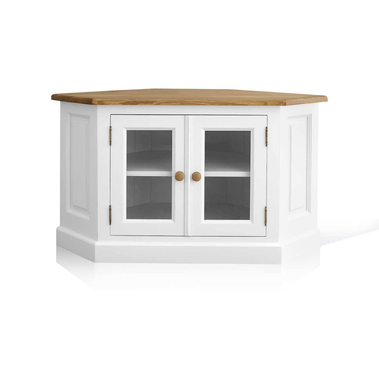 Mottisfont Painted Pine Corner Tv Unit With Glazed Doors With White Corner Tv Cabinets (View 8 of 15)