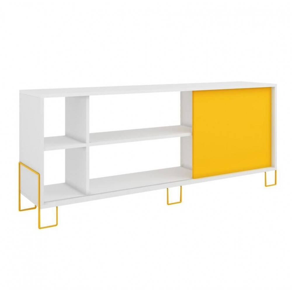 Nacka Tv Stand 2.0 | White And Yellow, Manhattan Comfort - Modern within Yellow Tv Stands (Image 9 of 15)