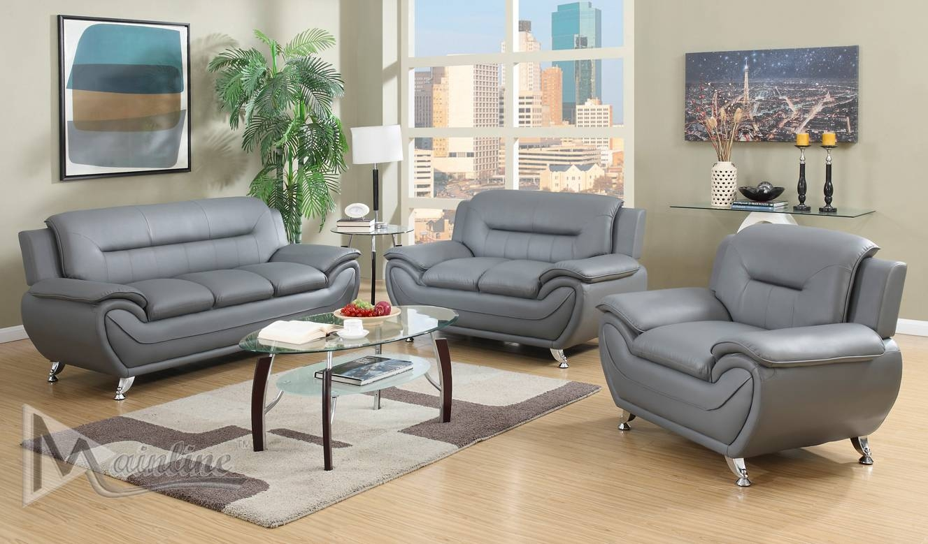 Napoli Gray Sofa 71357 Mainline Inc Leather Sofas At Comfyco in Gray Sofas (Image 15 of 15)