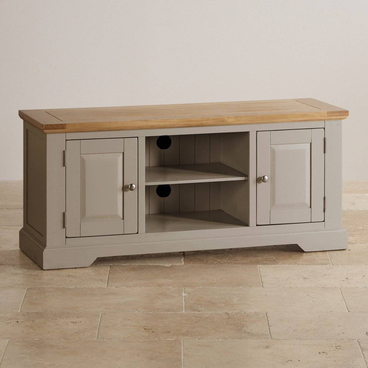 Natural Oak And Light Grey Painted Tv Cabinet. with regard to Light Oak Tv Cabinets (Image 9 of 15)
