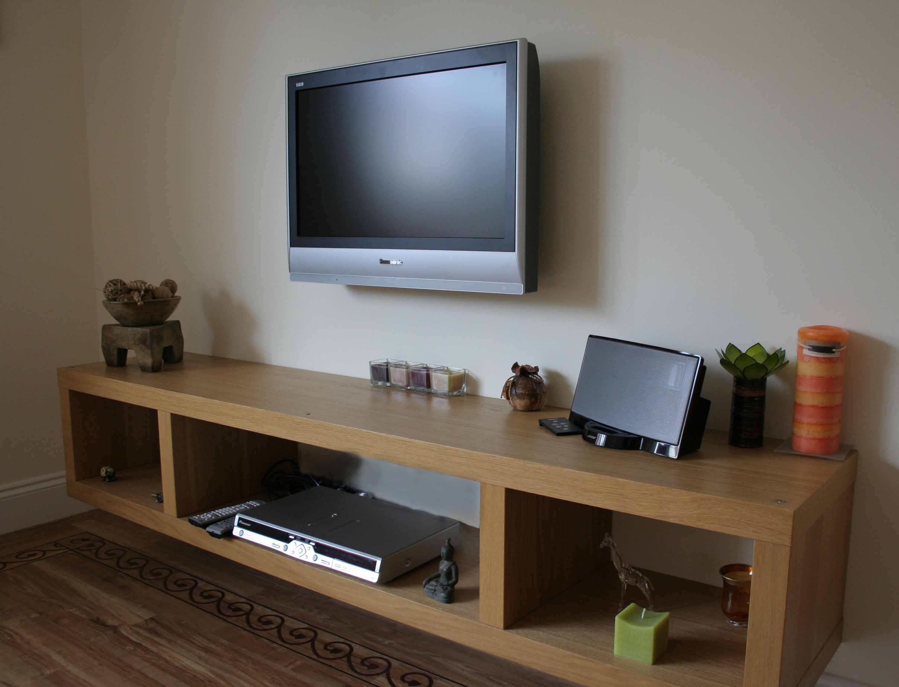 natural polished ash wood floating tv stand with three cube for floating tv cabinet image