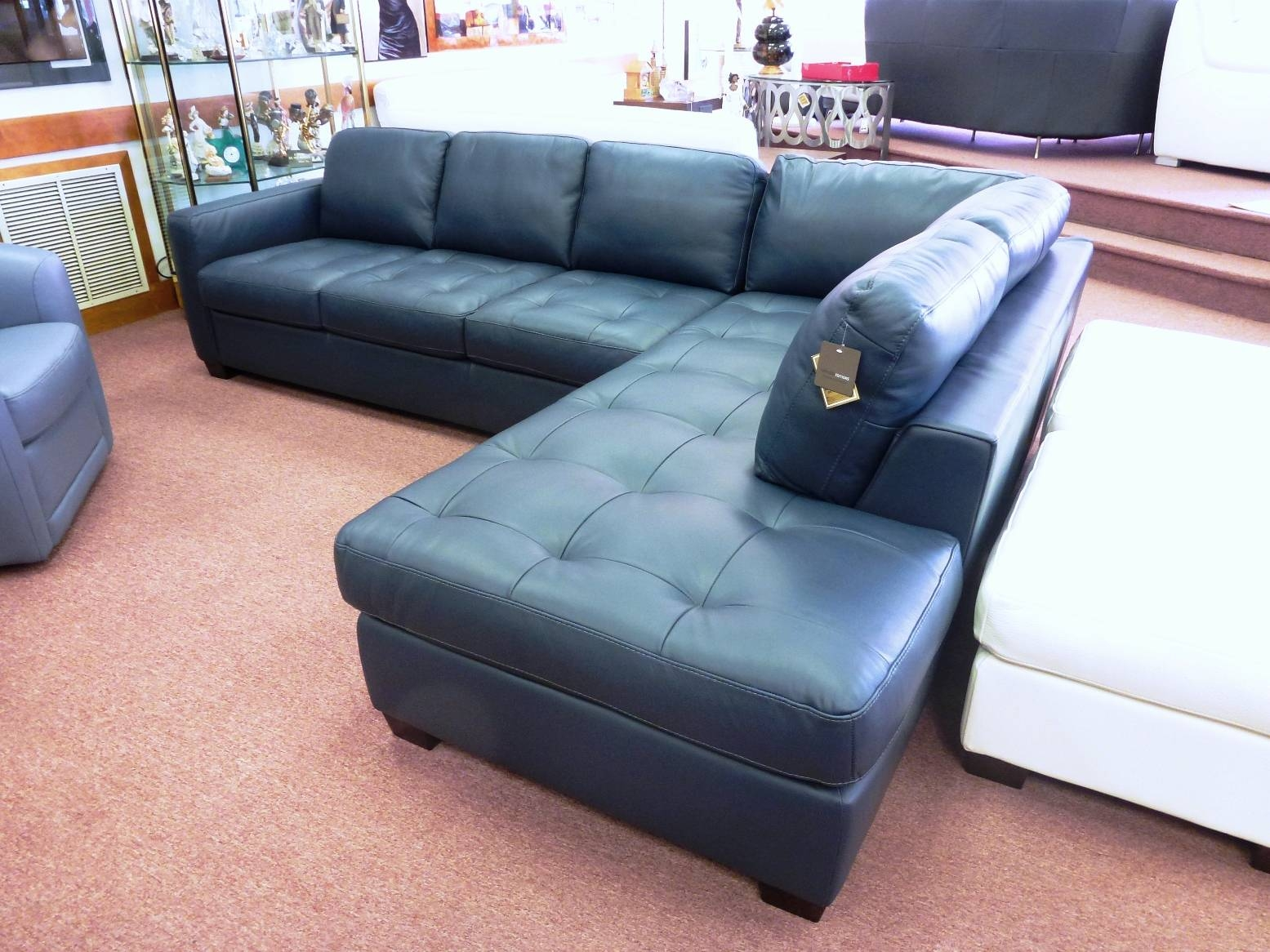 Navy Blue Leather Sectional Sofa And B Navy Blue Leather Sectional for Blue Leather Sectional Sofas (Image 12 of 15)