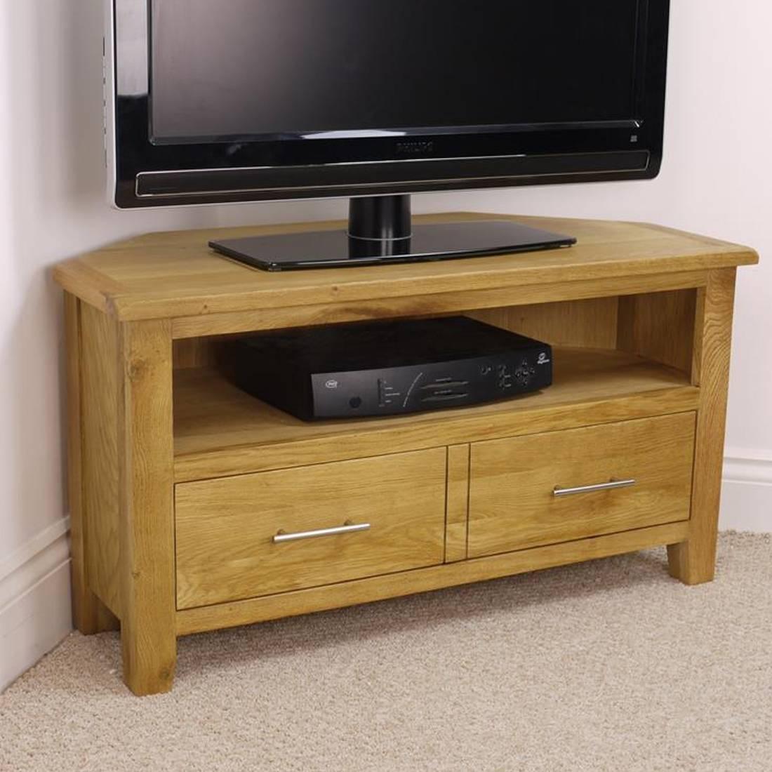 Nebraska Modern Oak Corner Tv Unit / Solid Wood Tv Stand / Oiled In Modern Wooden Tv Stands (Photo 15 of 15)