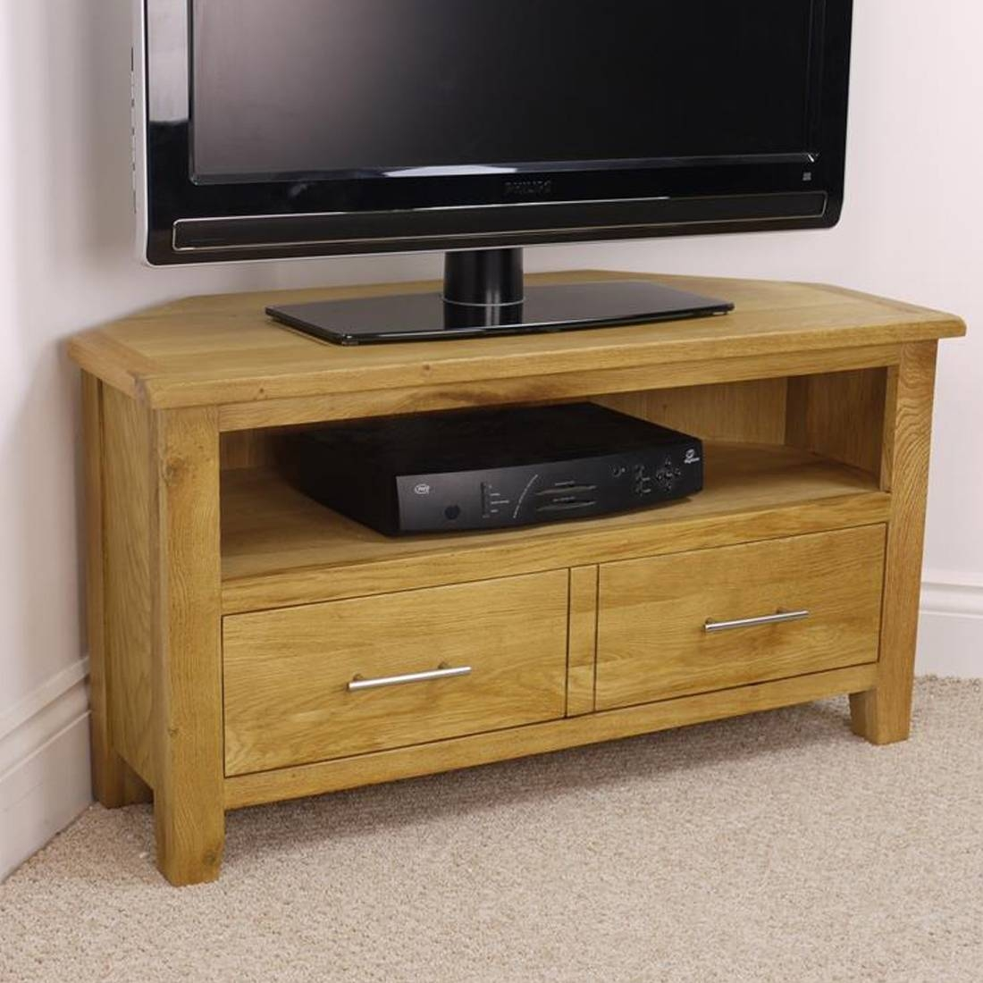Nebraska Modern Oak Corner Tv Unit / Solid Wood Tv Stand / Oiled with Chunky Oak Tv Unit (Image 10 of 15)