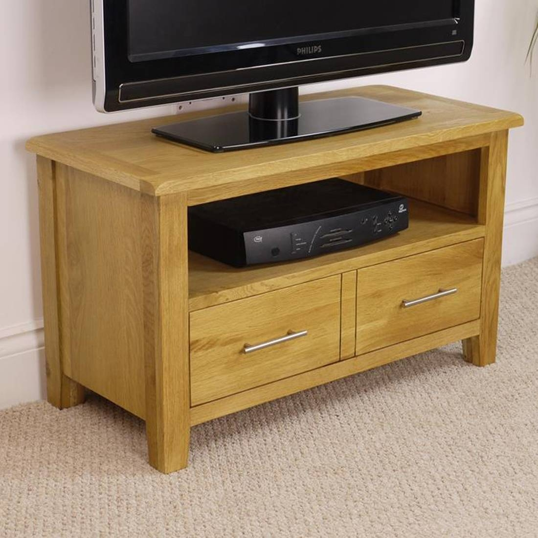 Nebraska Modern Oak Small Tv Unit / Solid Wood Tv Stand / Oiled Tv regarding Small Tv Cabinets (Image 8 of 15)