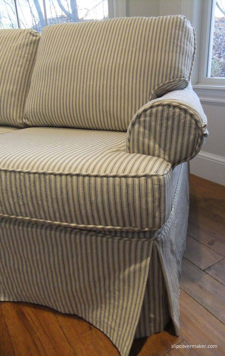 Neutral Unique Couch Covers Ideas With Custom Slipcovers And At intended for Striped Sofa Slipcovers (Image 6 of 15)