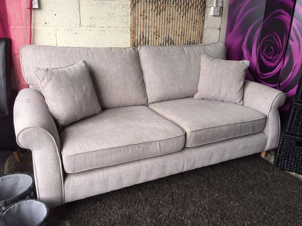 New Next Ashford Large 3 Seater Sofa In Textured Weave Light Grey with Ashford Sofas (Image 8 of 15)