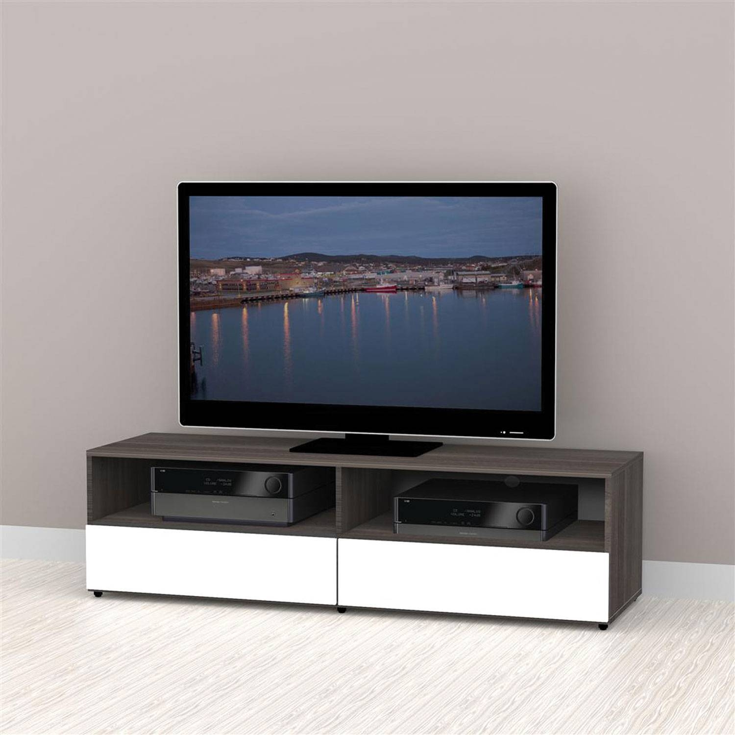 """Nexera Allure Tv Stand For Tvs Up To 64"""" – White/ebony : Tv Stands In Nexera Tv Stands (View 3 of 15)"""