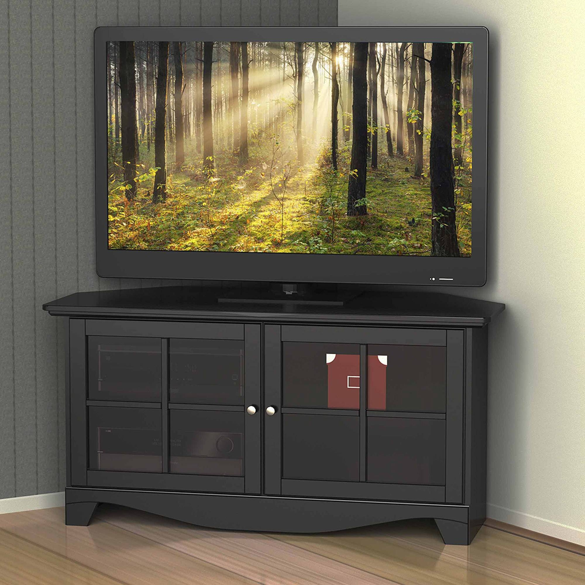 tv cabinet with doors best 15 of black corner tv cabinets with glass doors 27345