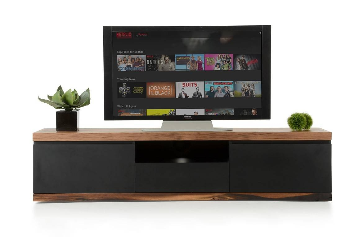 Norse Modern Black & Wood Tv Stand within Modern Wooden Tv Stands (Image 8 of 15)