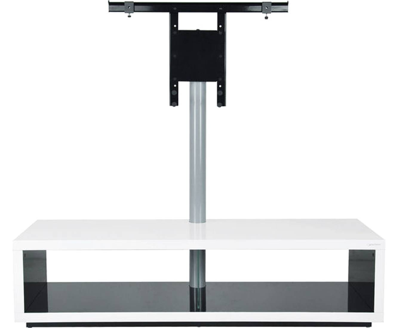 Norstone Saeby 2 Shelf Tv Stand With Bracket – White / Black Regarding Slimline Tv Cabinets (View 6 of 15)