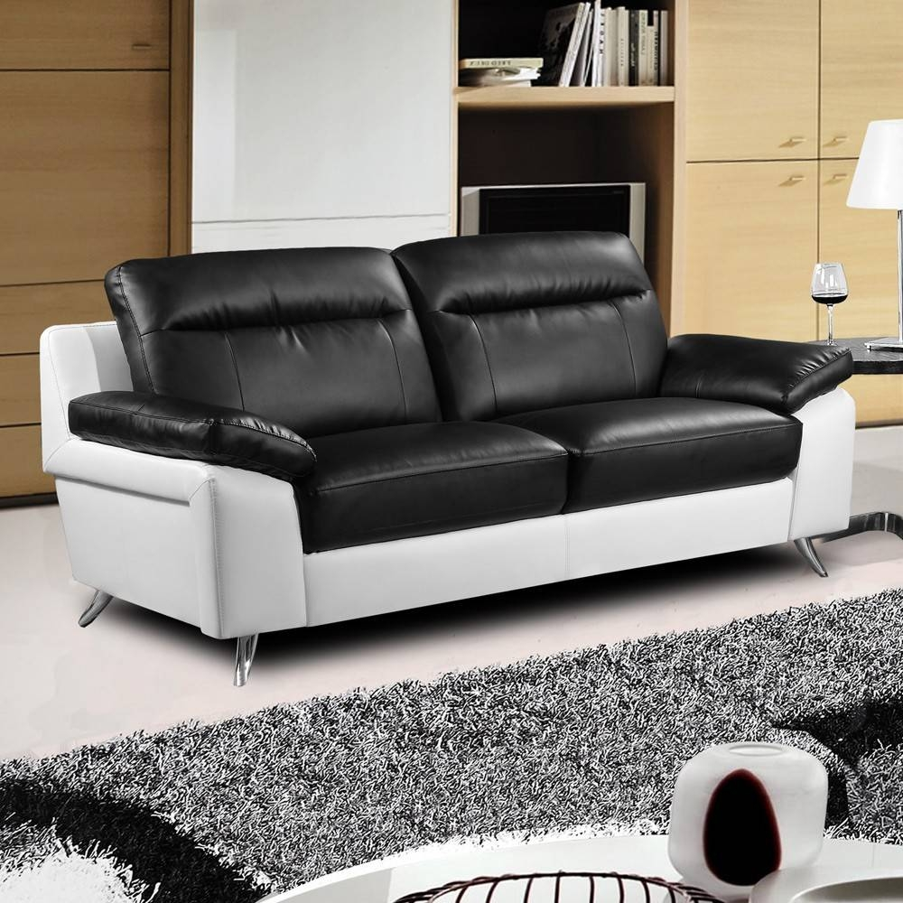 Nuvola Italian Inspired Modern Black And White Sofa Collection inside Black and White Leather Sofas (Image 12 of 15)