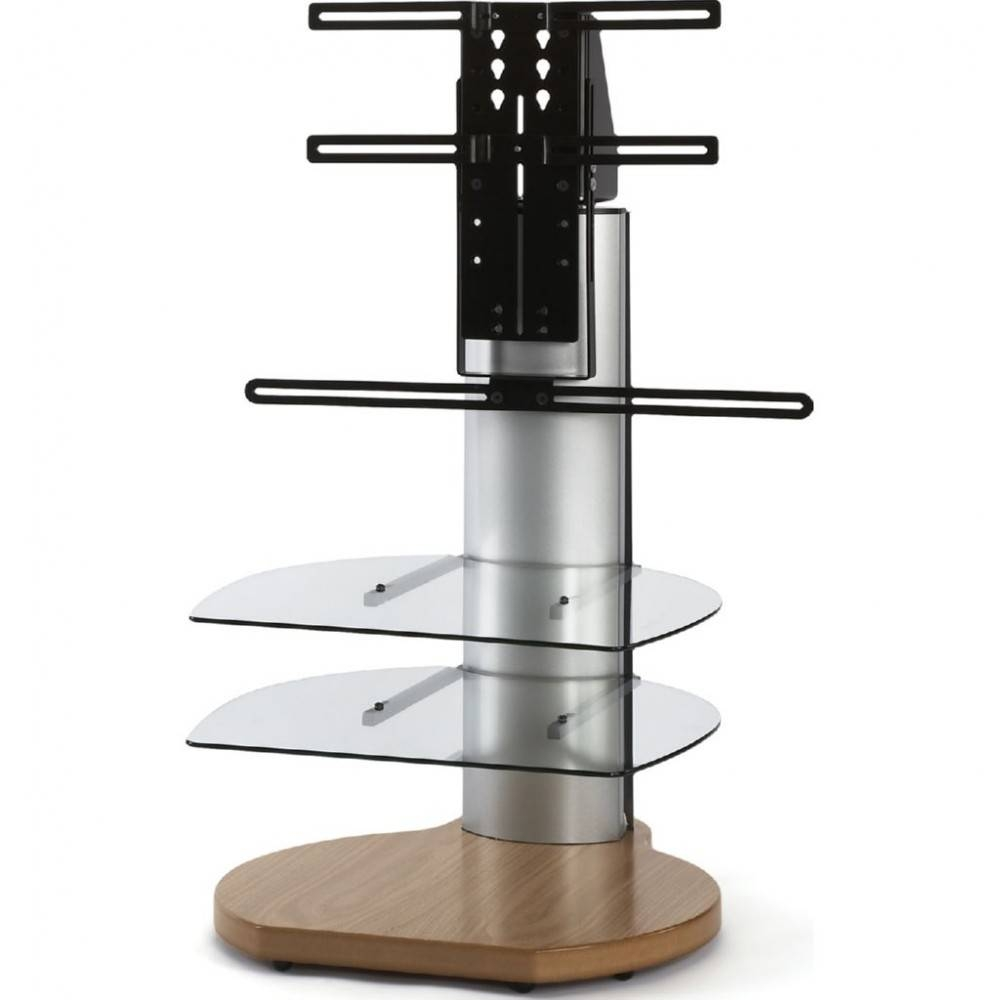 Oak Dark Wood Small Round Tv Stand Mount Glass Shelves intended for Glass And Oak Tv Stands (Image 8 of 15)