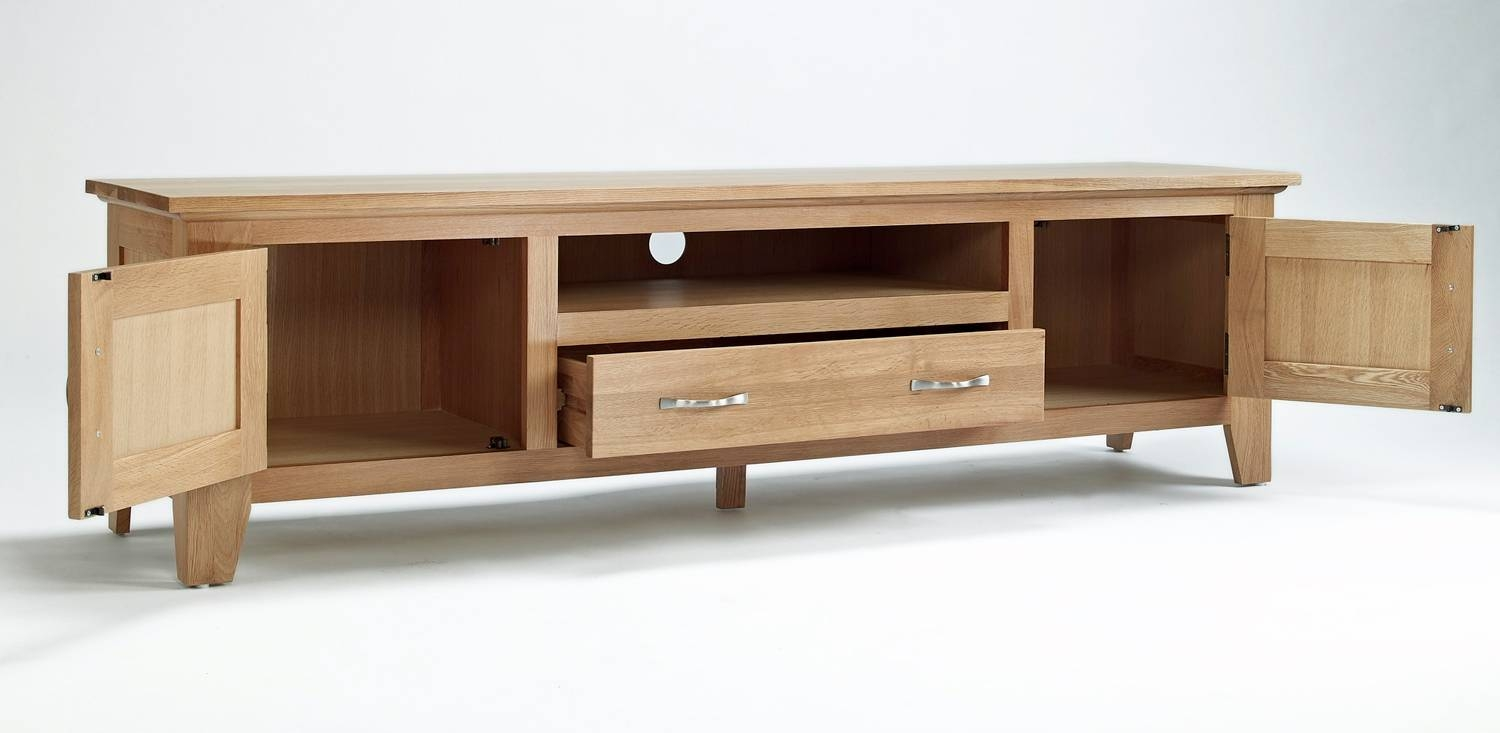 Oak Large Tv Unit for Oak Tv Cabinets (Image 7 of 15)