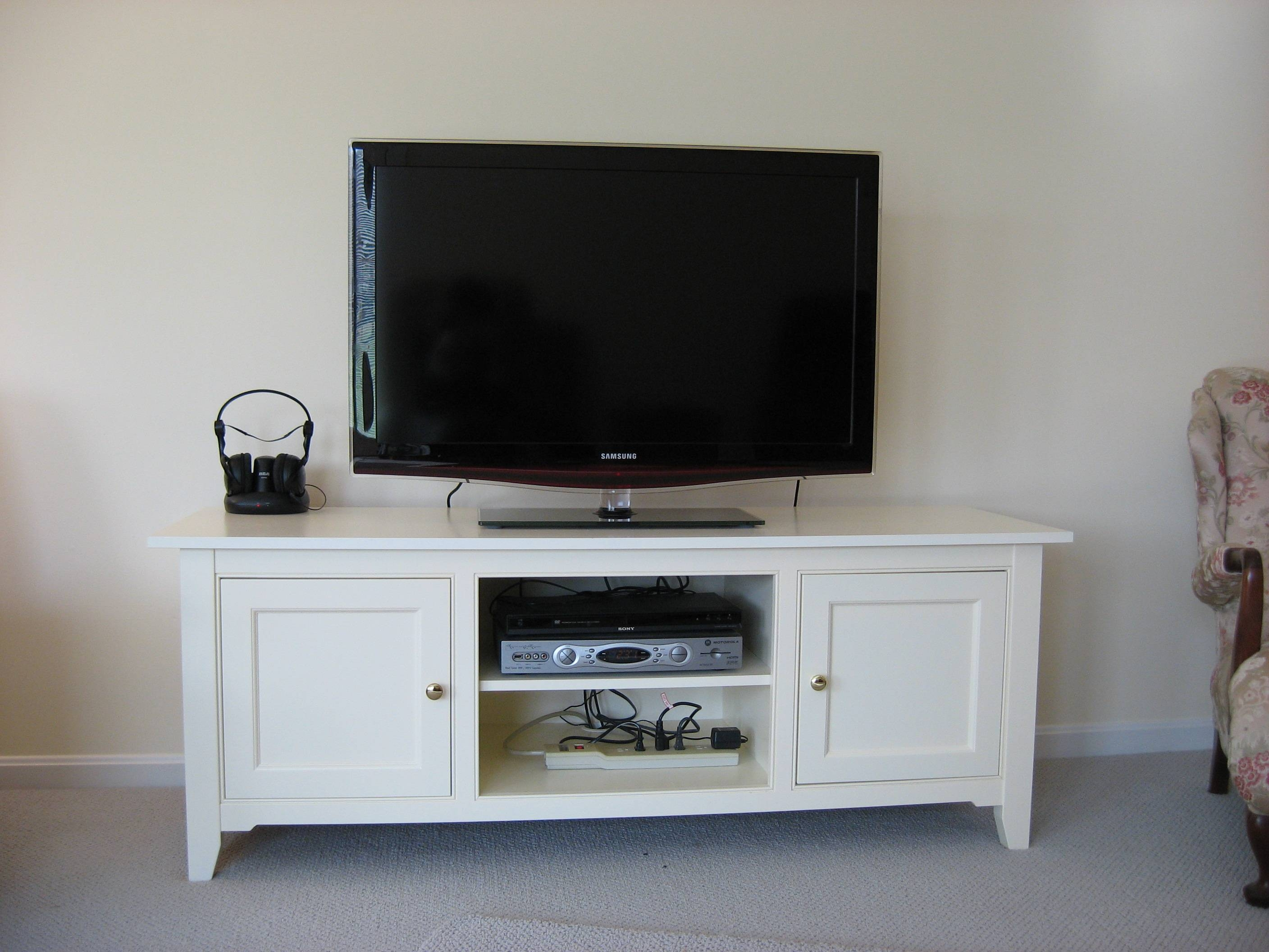 Oak Tv Stands And Modern Black Painted Wooden Media Cabinet With in Long White Tv Cabinets (Image 12 of 15)