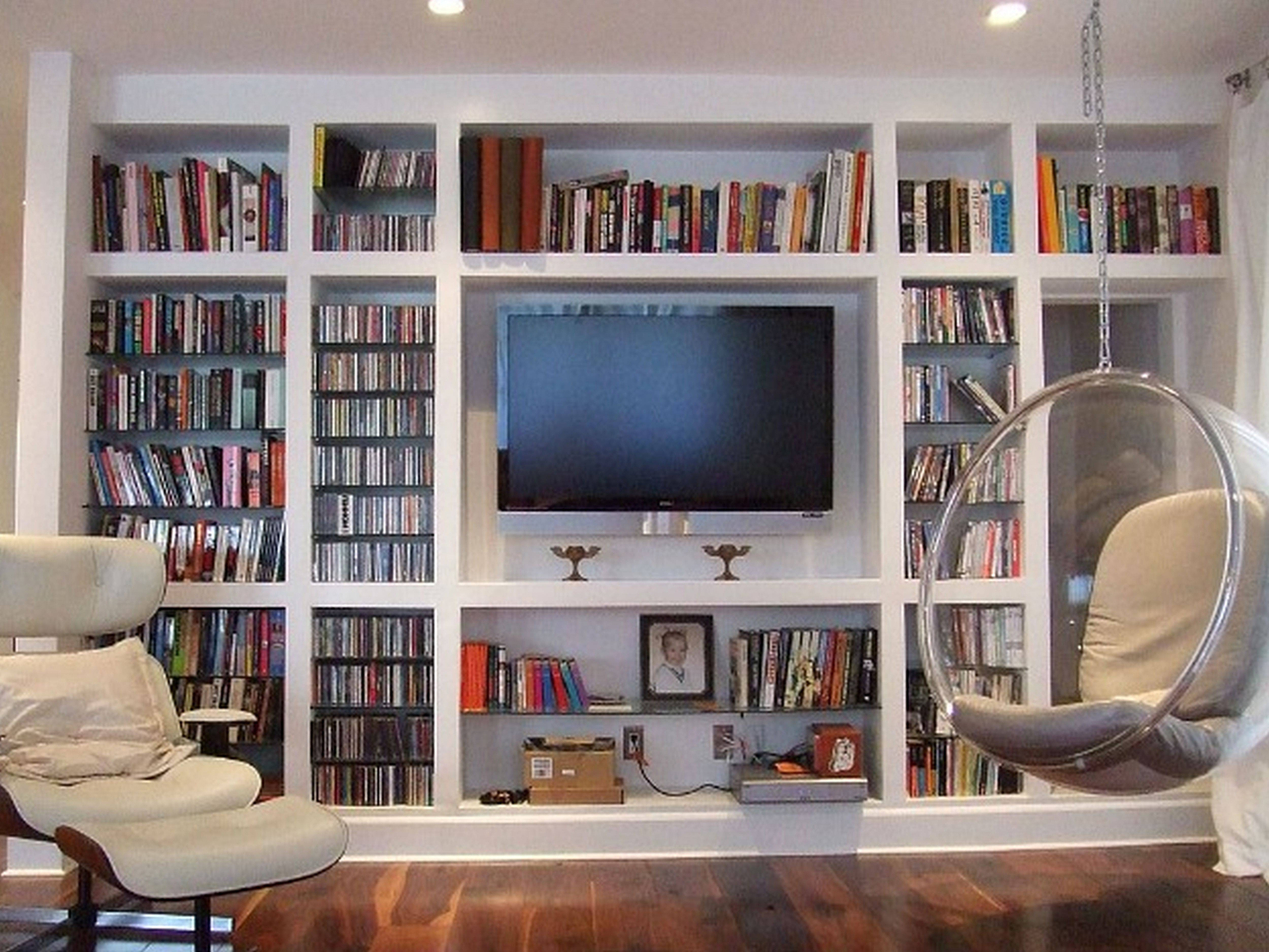 Oak Tv Stands And Modern Black Painted Wooden Media Cabinet With Inside Tv Stands With Bookcases (View 15 of 15)