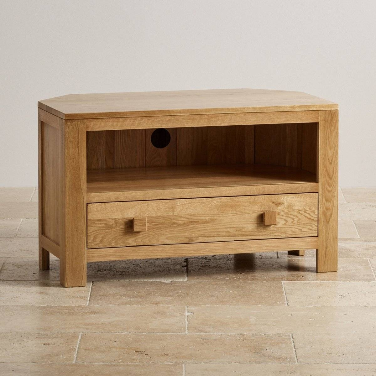Oakdale Corner Tv Cabinet In Solid Oak | Oak Furniture Land regarding Hardwood Tv Stands (Image 7 of 15)