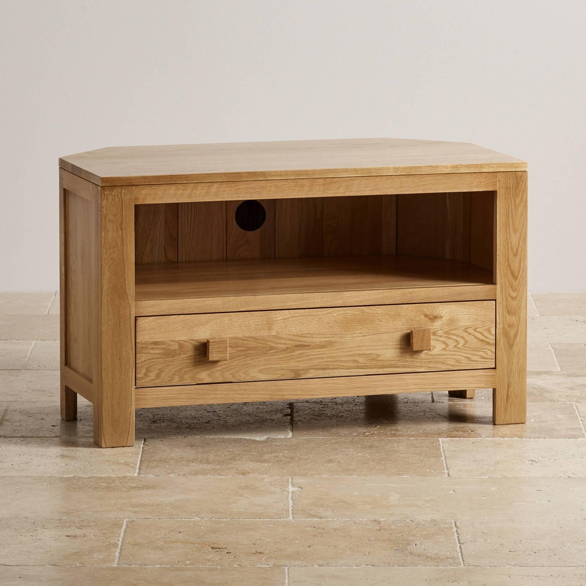 Oakdale Corner Tv Cabinet In Solid Oak | Oak Furniture Land Within Oak Corner Tv Cabinets (View 8 of 15)