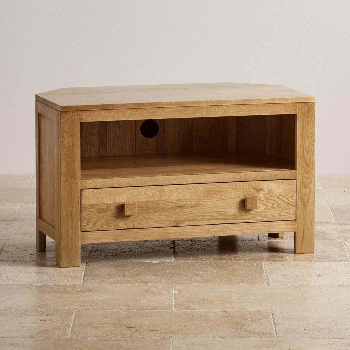 Oakdale Corner Tv Cabinet In Solid Oak | Oak Furniture Land within Solid Oak Corner Tv Cabinets (Image 12 of 15)