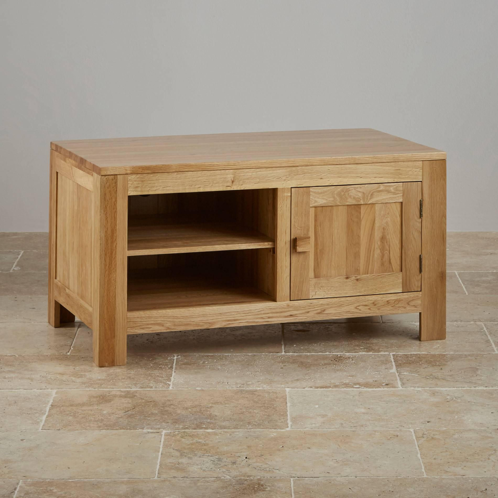 Oakdale Tv + Dvd Cabinet In Natural Solid Oak within Solid Oak Tv Cabinets (Image 8 of 15)