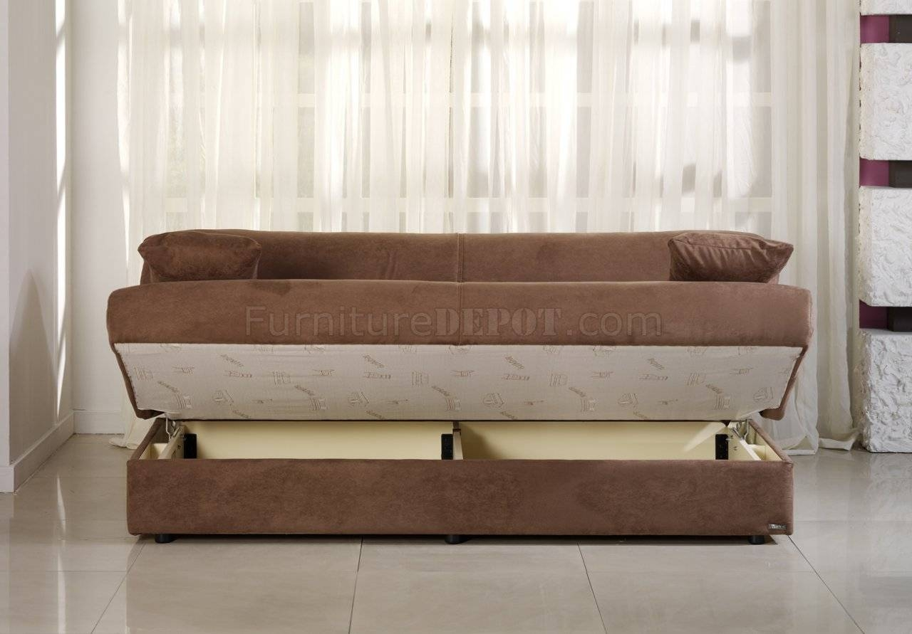 Obsession Truffle Sofa Bed In Microfibersunset with Microsuede Sofa Beds (Image 7 of 15)