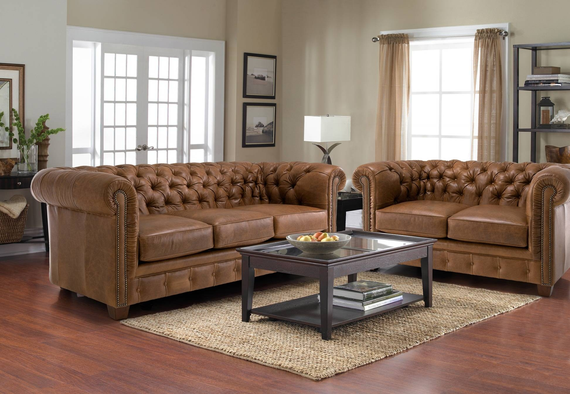 Old And Vintage Brown Leather Tufted Sofa With 2 And 3 Cushions In intended for Brown Tufted Sofas (Image 13 of 15)