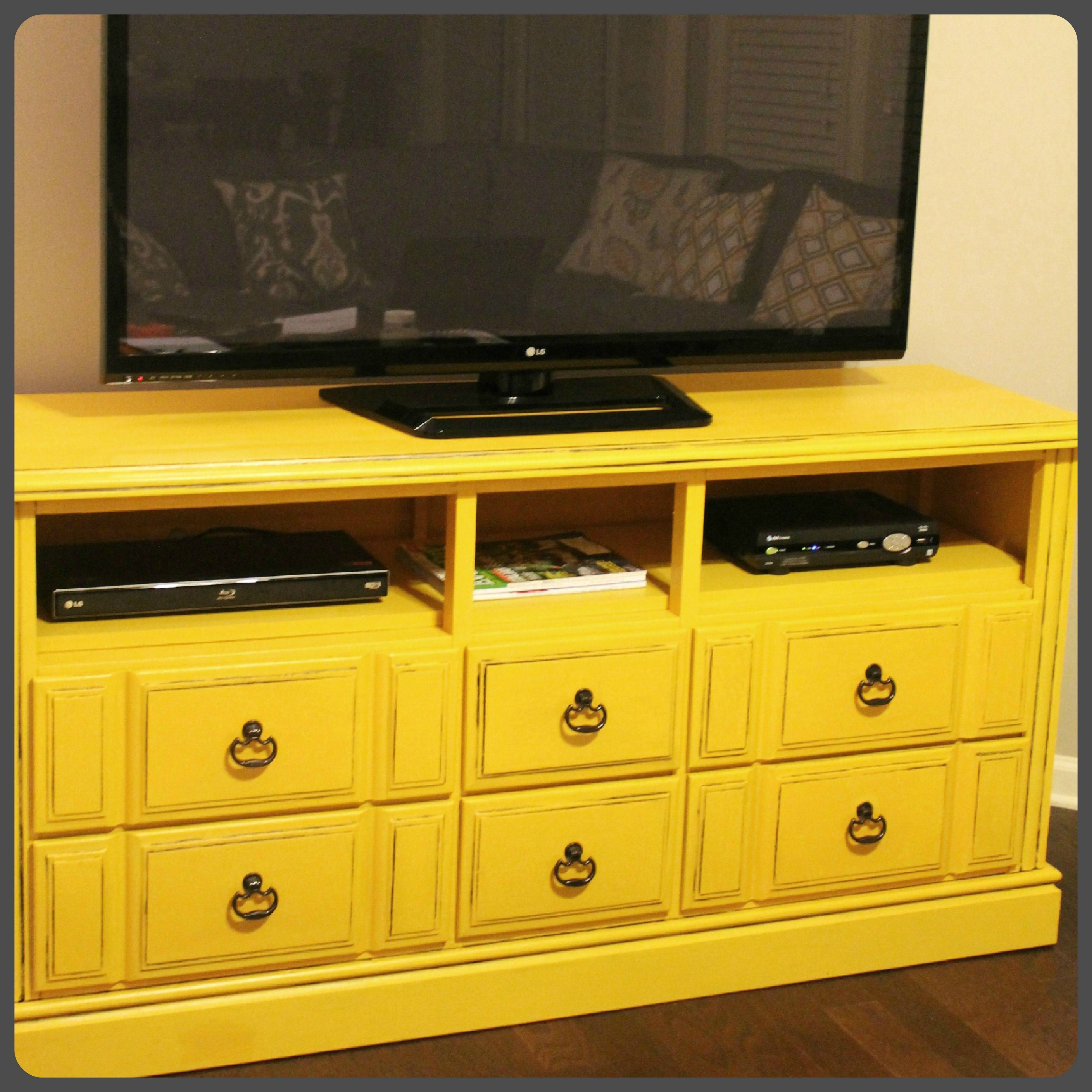 Old Diy Wood Dresser With Drawer And Shelves Makeover Turned Into with regard to Yellow Tv Stands (Image 10 of 15)