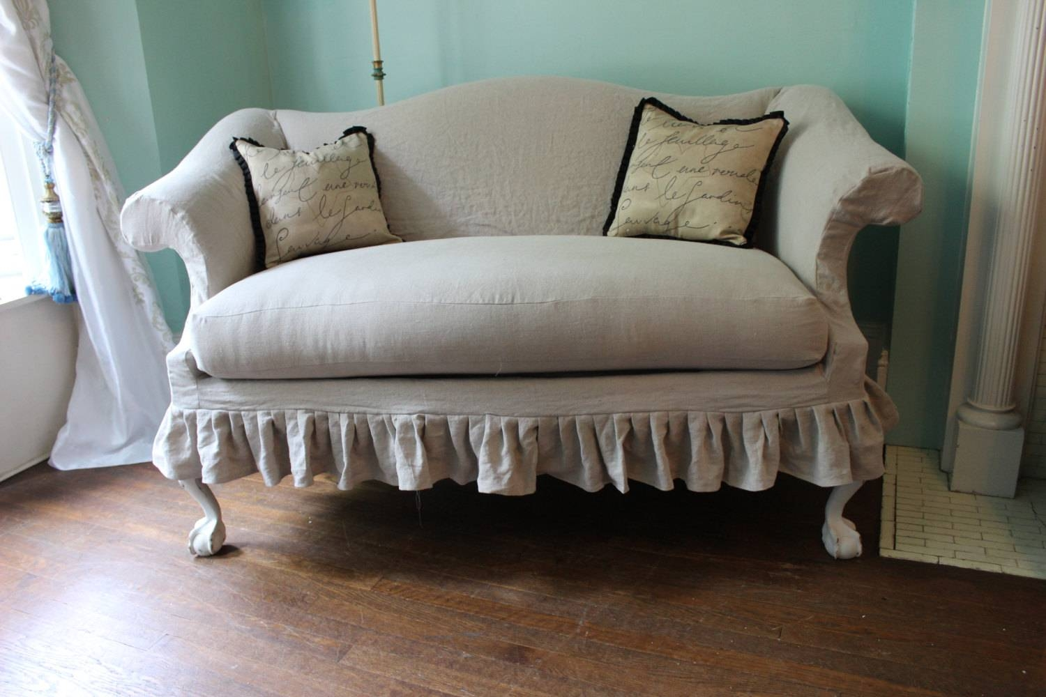 Old Reclining Loveseat Slipcover With White Color 2 Cushions And inside Camel Back Couch Slipcovers (Image 15 of 15)