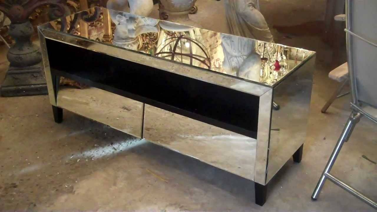 One Off Venetian Tv Unit With Draws Mirrored Av Unit - Youtube with Mirrored Tv Stands (Image 11 of 15)