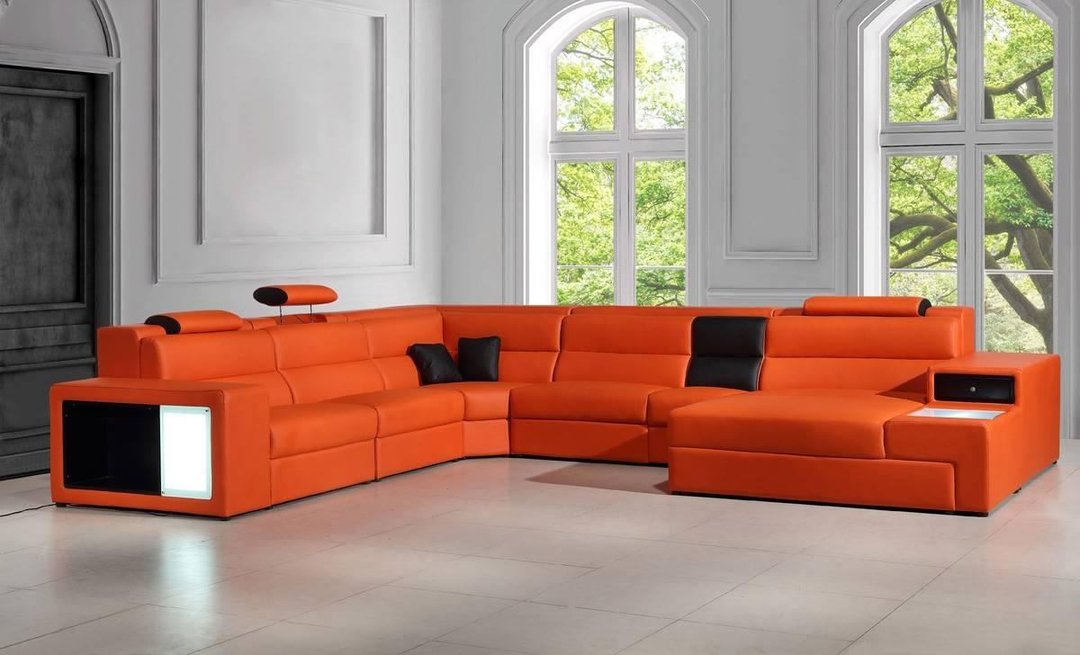 Orange Italian Leather Sectional Sofa within Orange Sectional Sofas (Image 14 of 15)