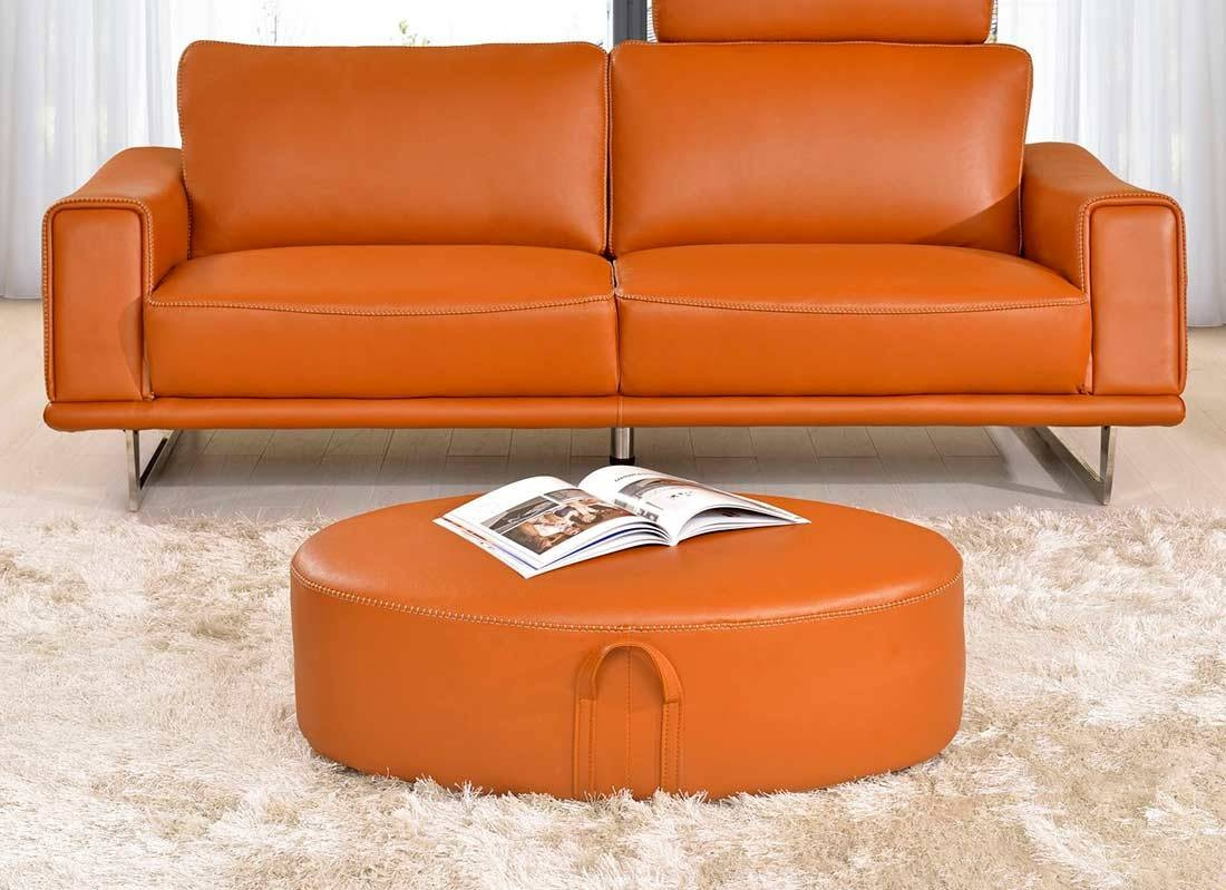 Orange Leather Sofa | Roselawnlutheran throughout Burnt Orange Leather Sofas (Image 12 of 15)
