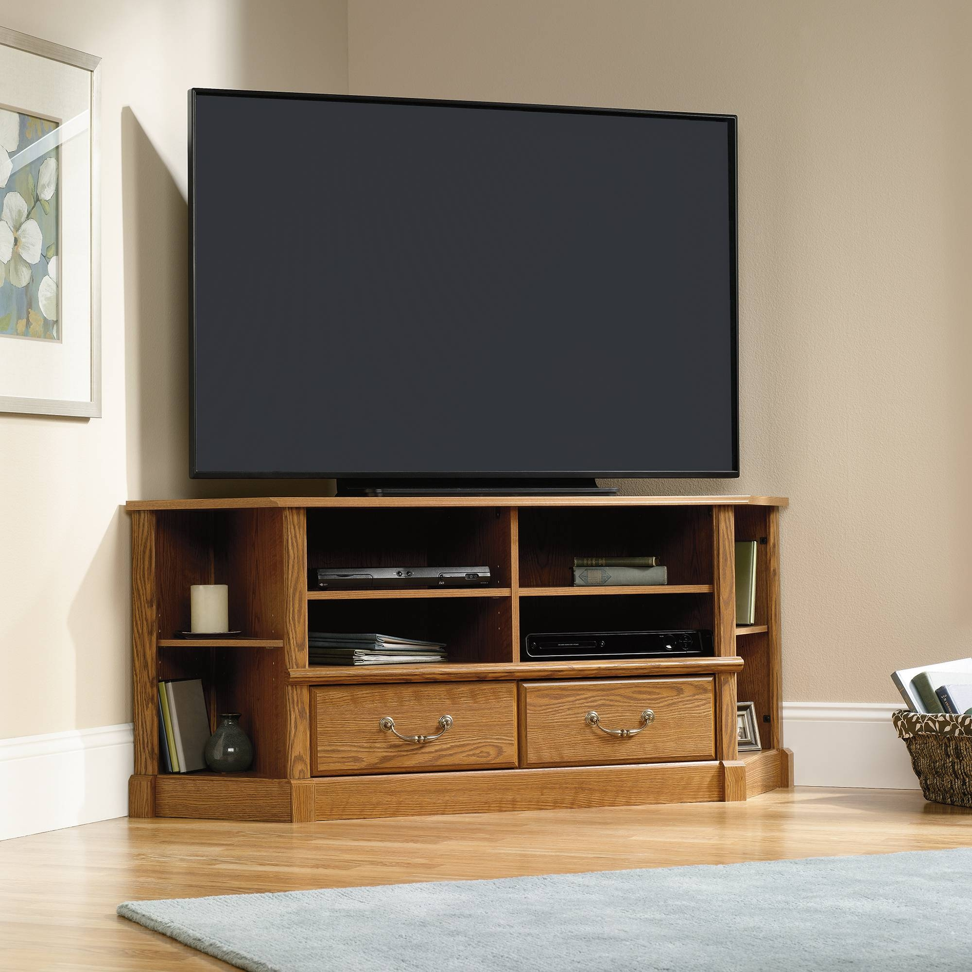 Orchard Hills | Corner Entertainment Credenza | 403818 | Sauder intended for Corner Tv Stands For 60 Inch Tv (Image 11 of 15)
