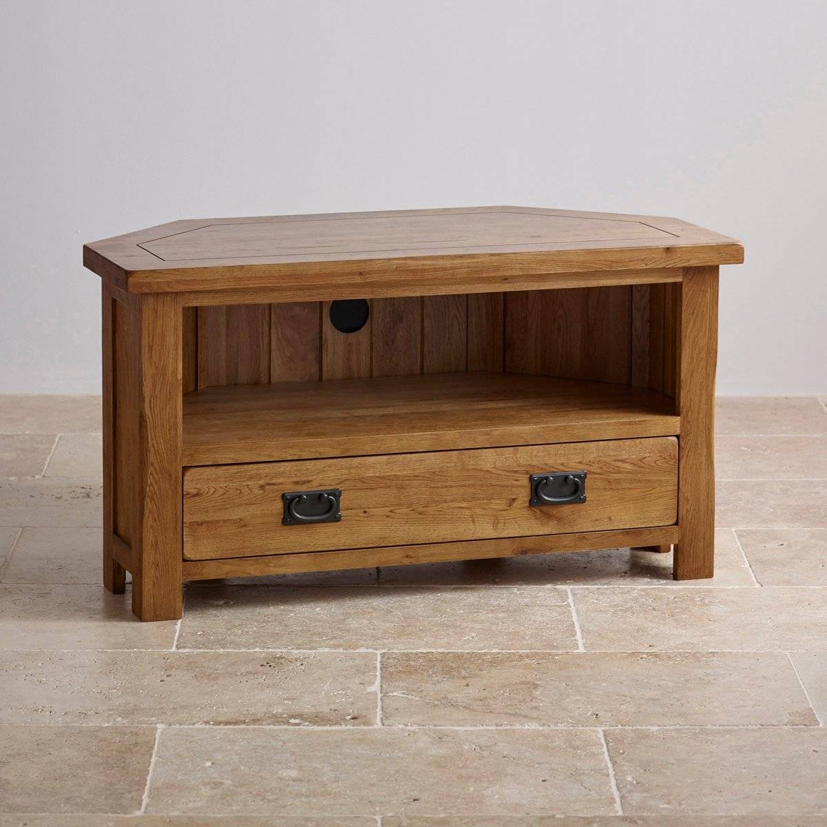 Original Rustic Corner Tv Cabinet In Solid Oak with Oak Tv Cabinets (Image 9 of 15)