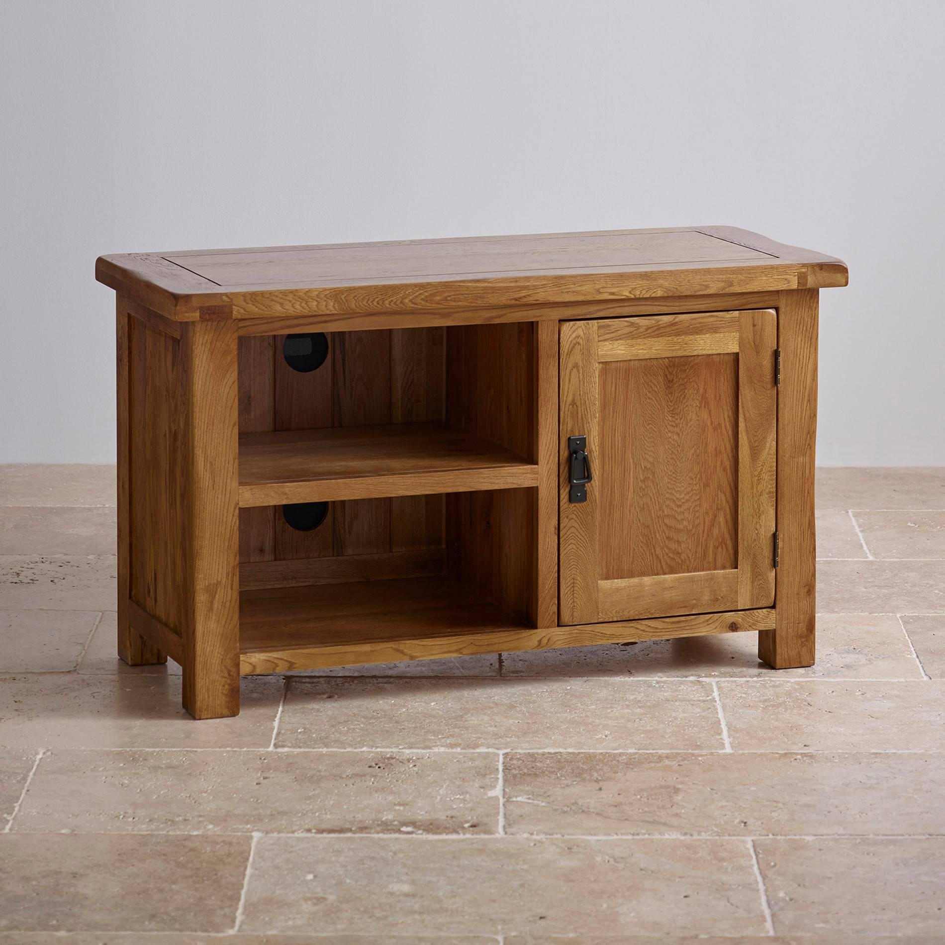 Original Rustic Tv Cabinet In Solid Oak | Oak Furniture Land With Oak Tv Cabinets (View 4 of 15)