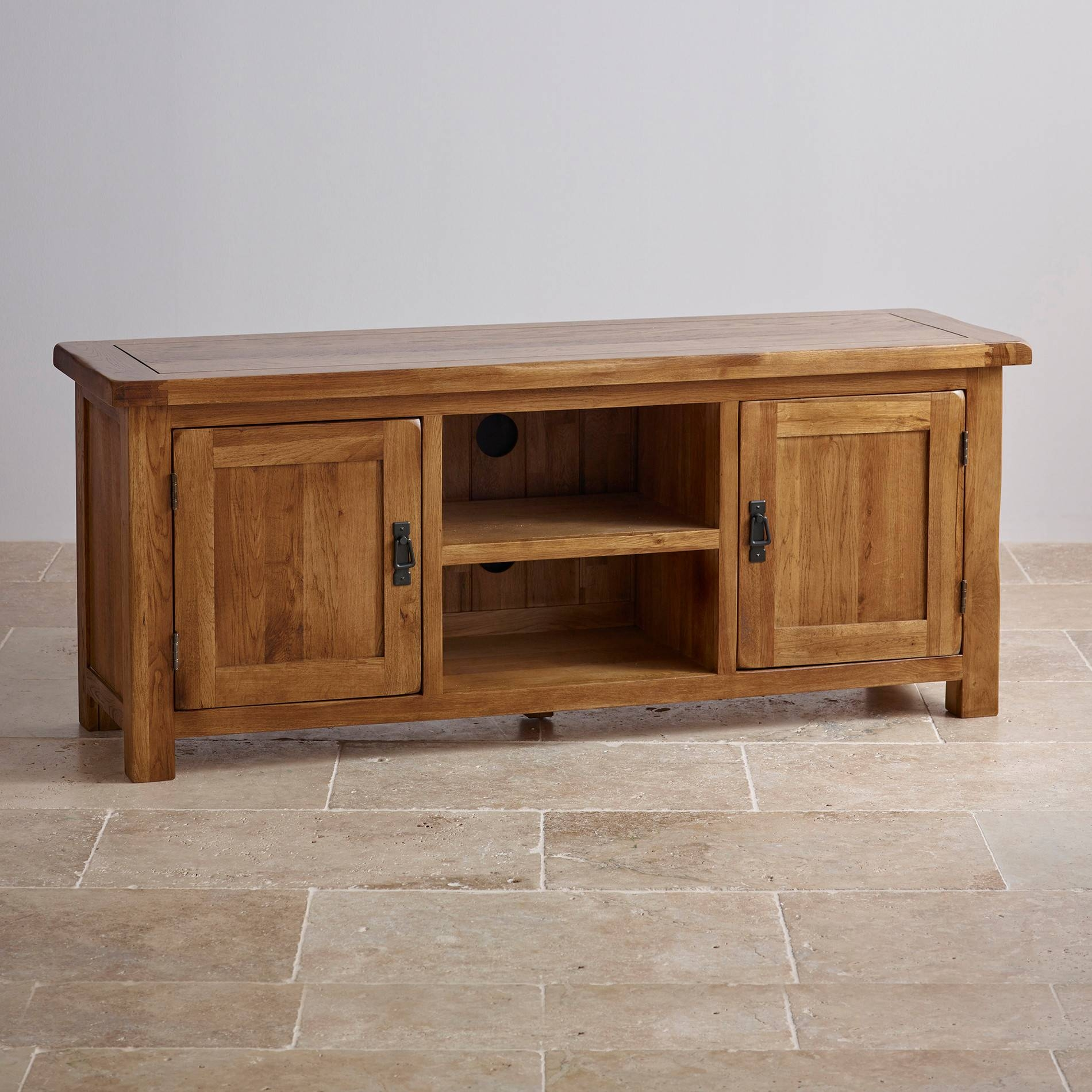 Original Rustic Wide Tv Cabinet In Solid Oak | Oak Furniture Land regarding Widescreen Tv Cabinets (Image 10 of 15)