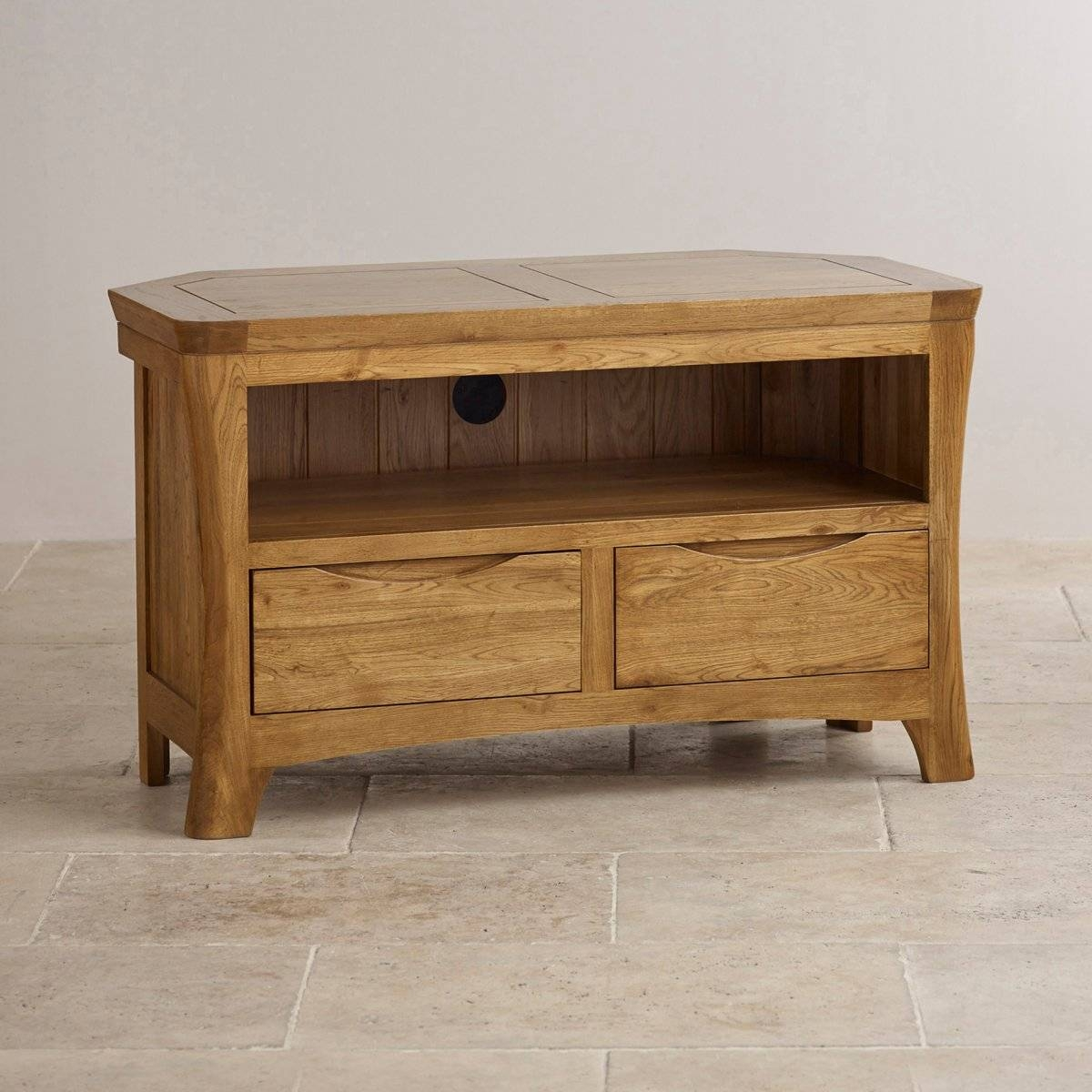 Orrick Corner Tv Cabinet In Rustic Oak | Oak Furniture Land throughout Rustic Tv Cabinets (Image 6 of 15)