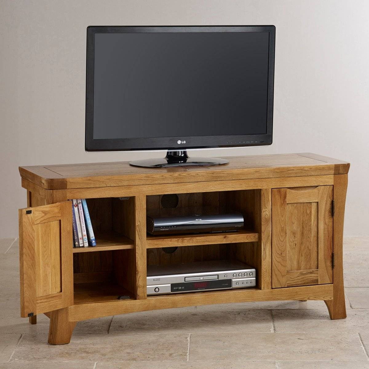 Orrick Wide Tv Cabinet In Rustic Solid Oak | Oak Furniture Land for Large Tv Cabinets (Image 13 of 15)