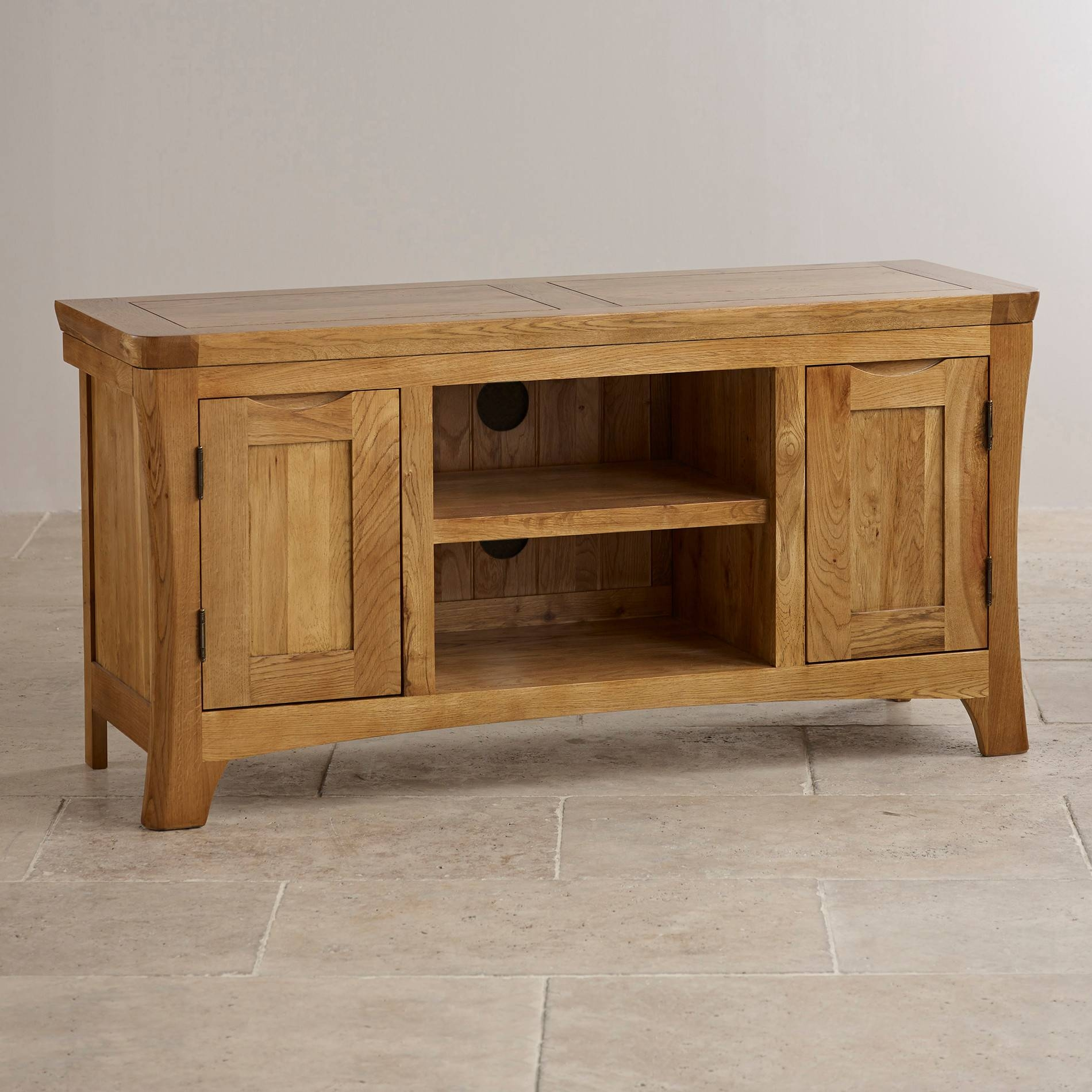 Orrick Wide Tv Cabinet In Rustic Solid Oak | Oak Furniture Land with Widescreen Tv Cabinets (Image 11 of 15)