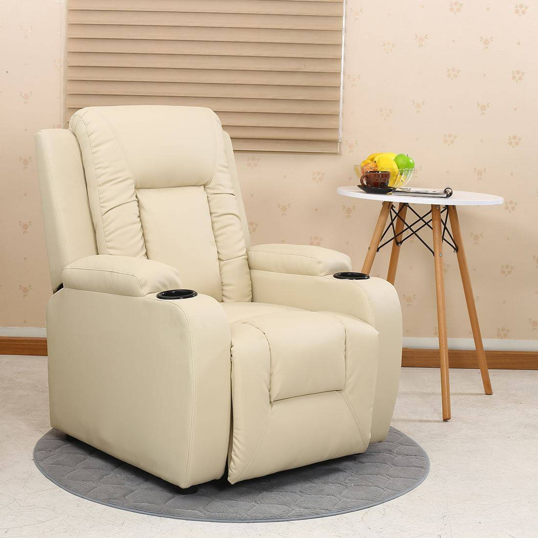 Oscar Leather Recliner W Drink Holders Armchair Sofa Chair intended for Sofas With Drink Holder (Image 9 of 15)
