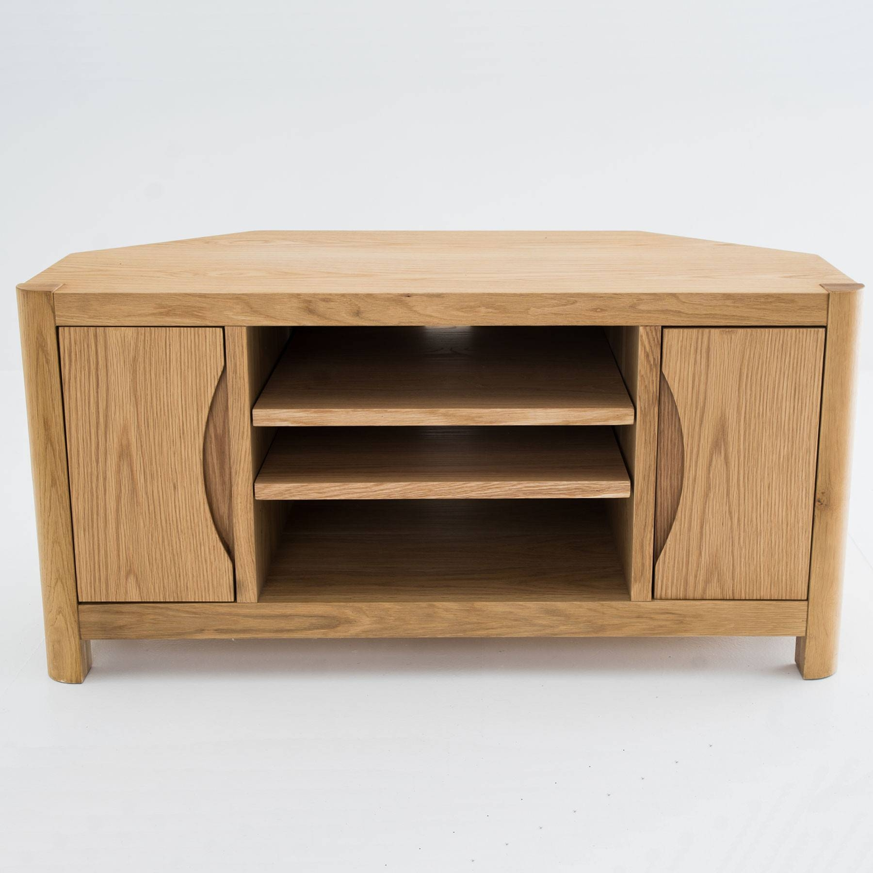 "Oslo Light Oak Corner Tv Stand For Up To 44"" Tvs Throughout Light Oak Corner Tv Cabinets (View 3 of 15)"