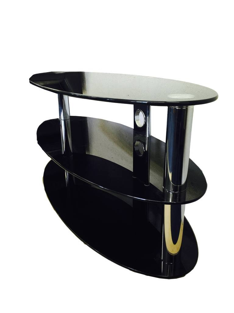 Oval Black Glass And Chrome 3 Tier Tv Stand Table | Ebay in Oval Glass Tv Stands (Image 6 of 15)