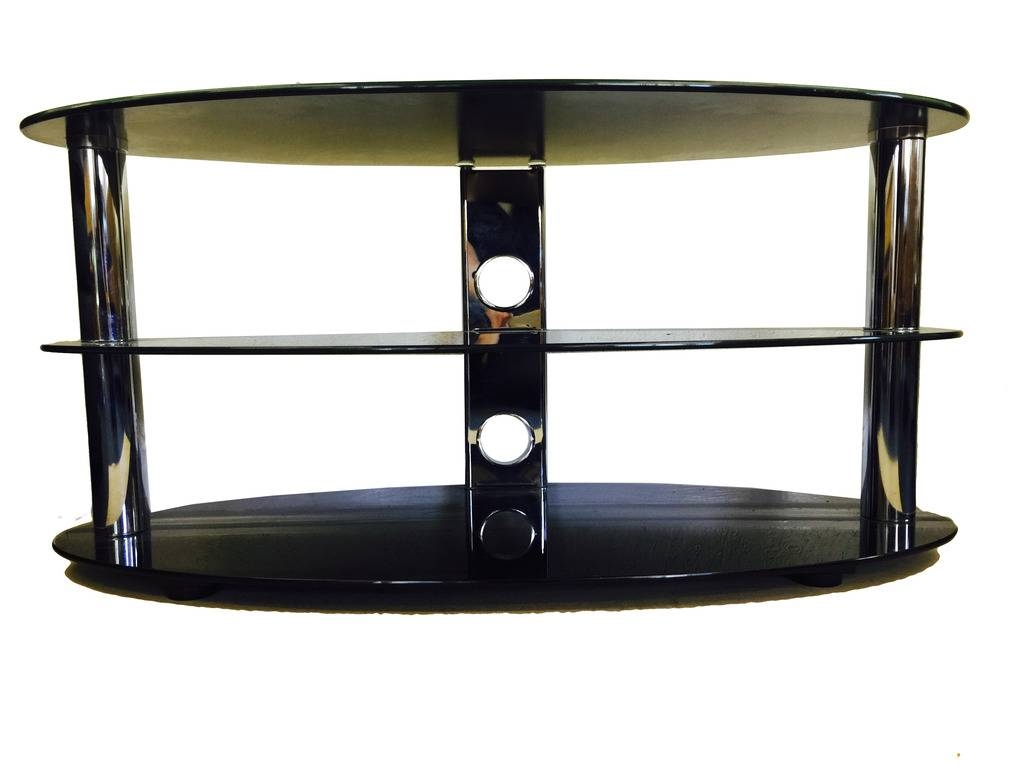 Oval Black Glass And Chrome 3 Tier Tv Stand Table | Ebay with regard to Oval Glass Tv Stands (Image 8 of 15)