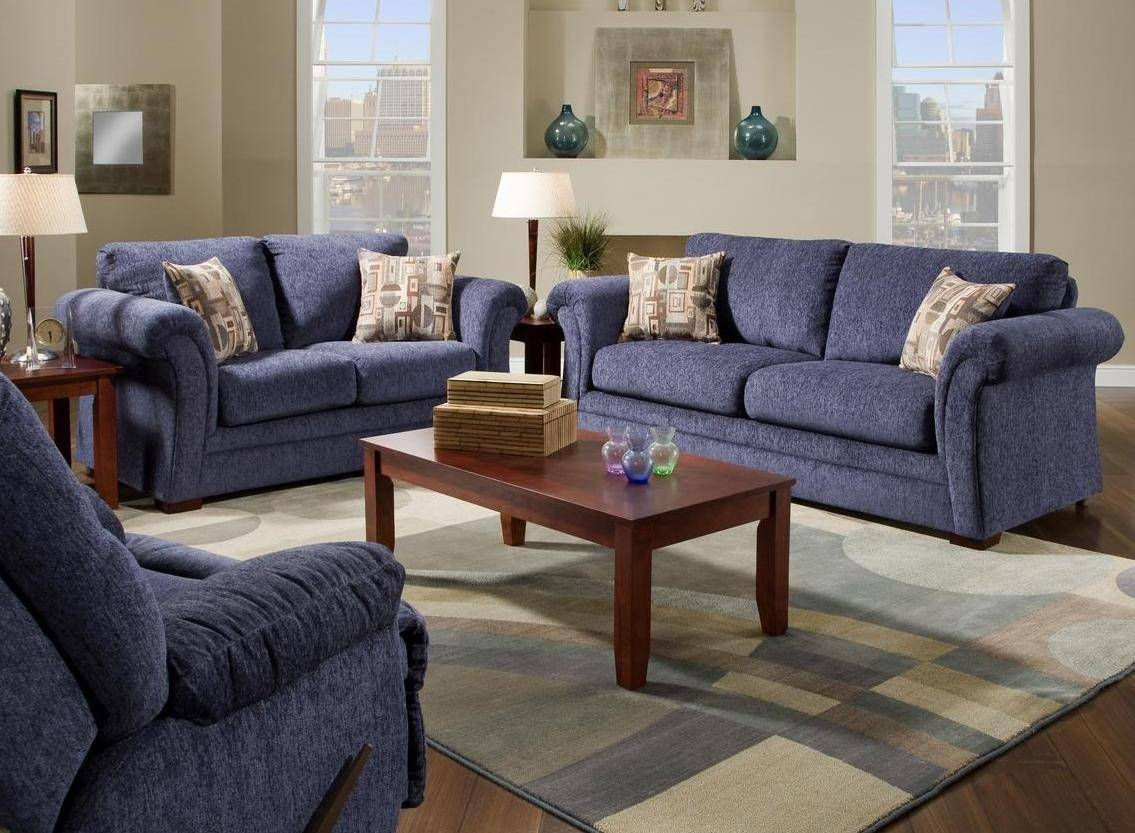 Featured Photo of Blue Microfiber Sofas