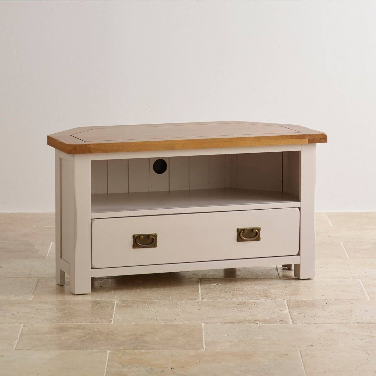 Painted Corner Tv Cabinet In Rustic Oak | Oak Furniture Land regarding Rustic Corner Tv Cabinets (Image 6 of 15)
