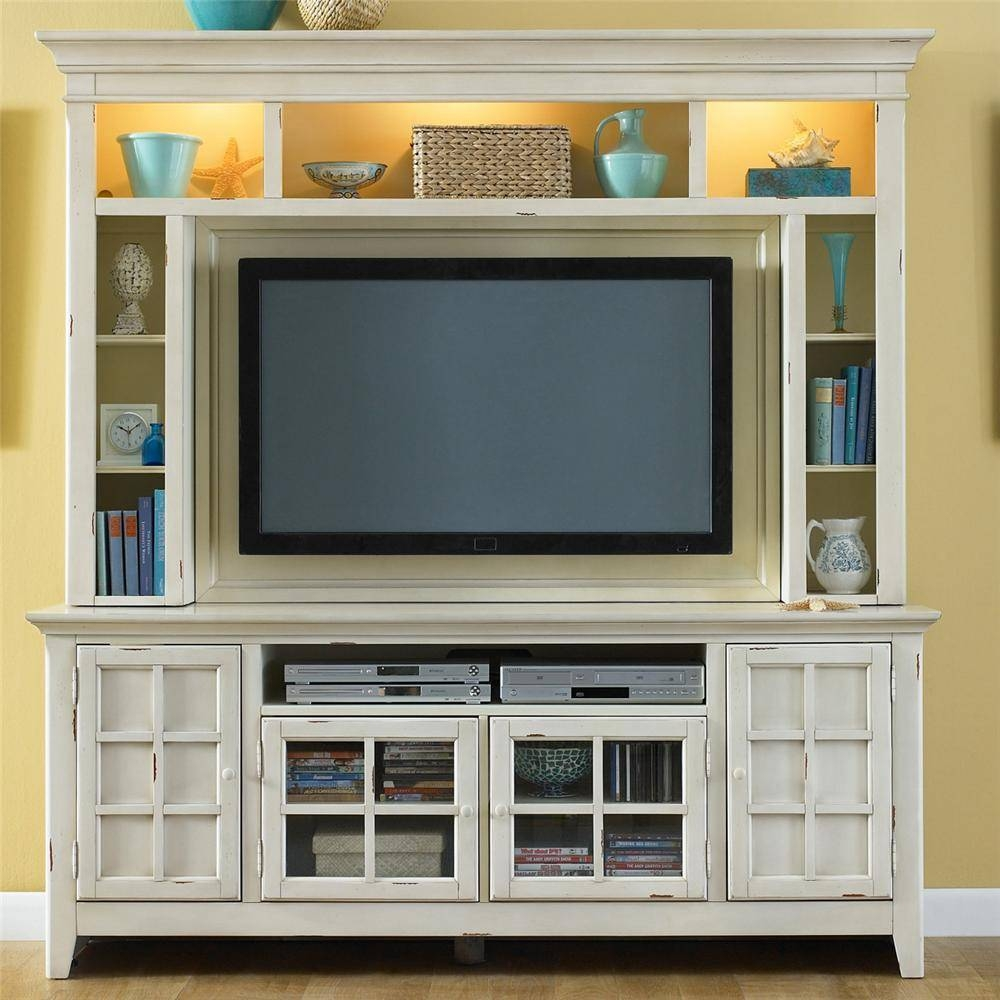 Painted Entertainment Center With Flat Screen Tv Mounting Area Intended For Tv Entertainment Units (View 13 of 15)