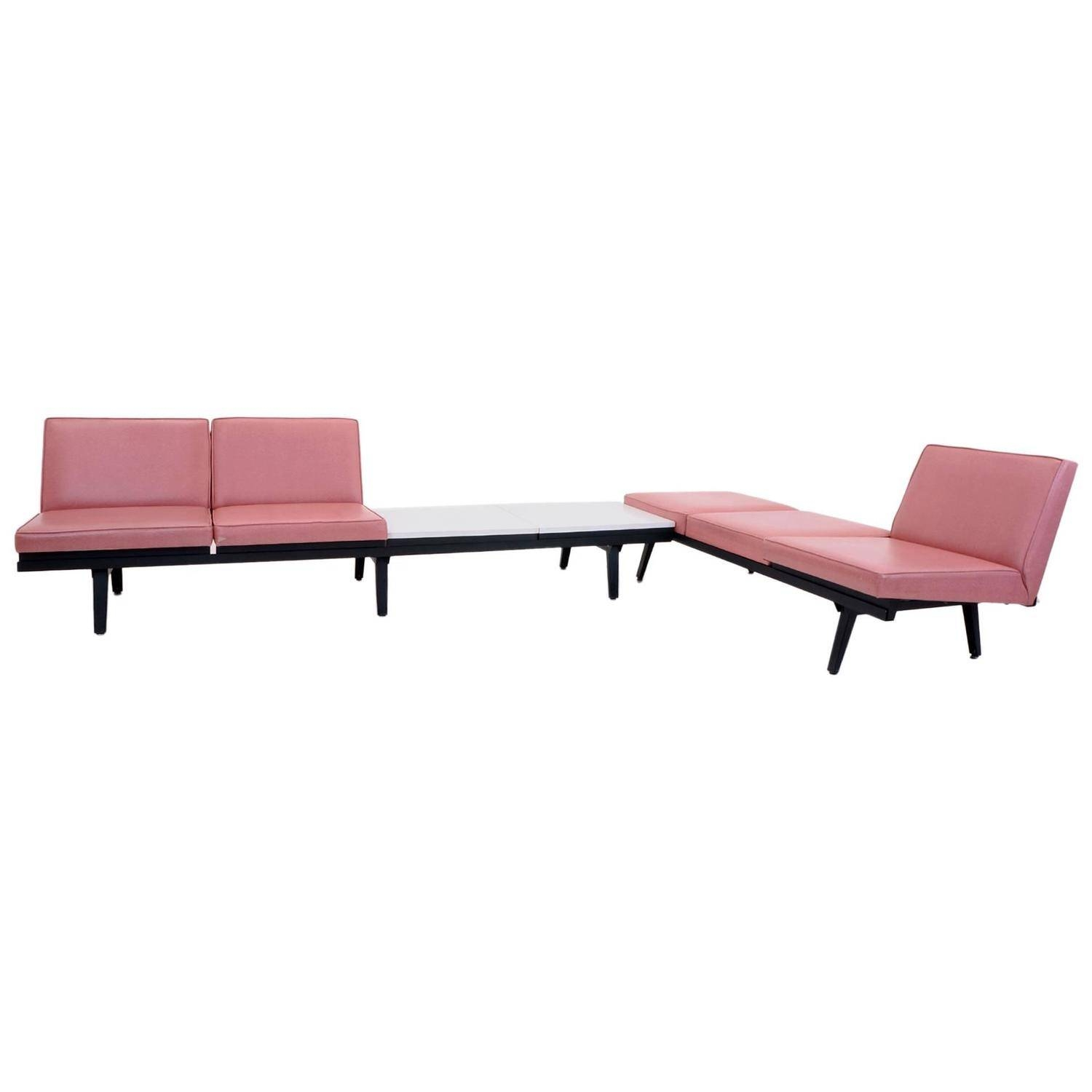 Pair Of George Nelson For Herman Miller Steel Frame Sofas for George Nelson Sofas (Image 14 of 15)