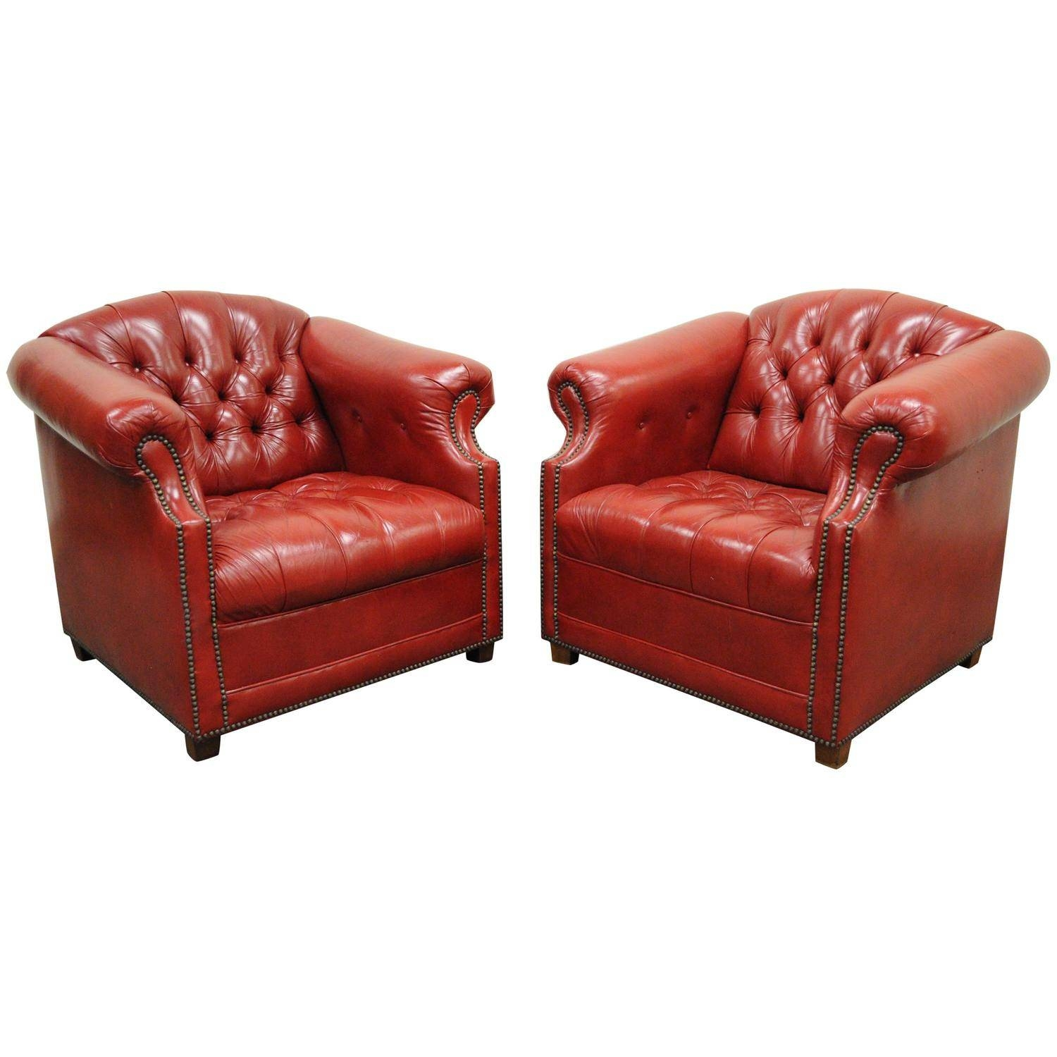 Pair Of Vintage Leather Chesterfield Chairs, England, Circa 1920 with regard to Red Chesterfield Chairs (Image 9 of 15)
