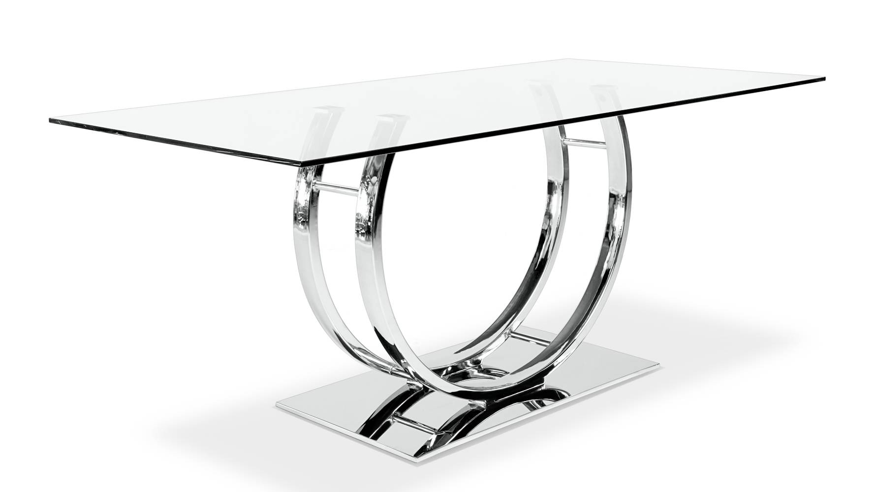Palazzo Glass Modern Dining Table With Polished Chrome Base | Zuri With Regard To Chrome Sofa Tables (View 12 of 15)