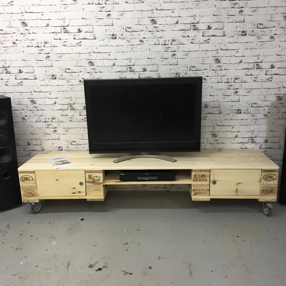 Pallet Media Console - Diy Tv Stand for Upright Tv Stands (Image 7 of 15)