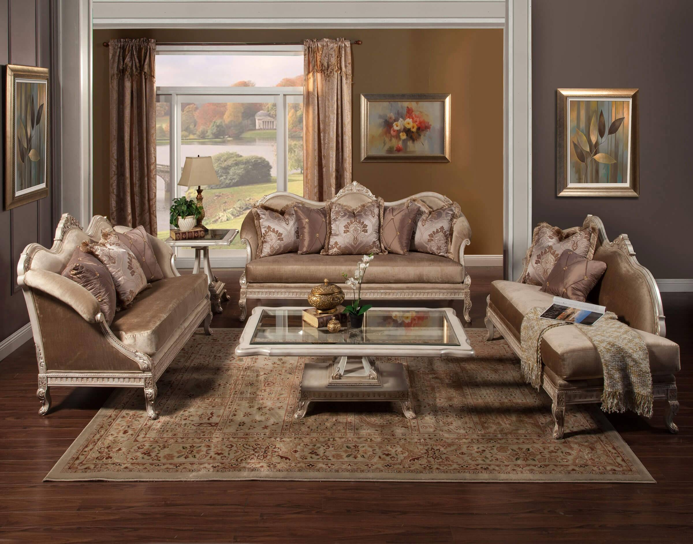 Perla Wood Trim Sofa & Chaise Lounge Set • Usa Furniture Online inside Sofas And Chaises Lounge Sets (Image 12 of 15)